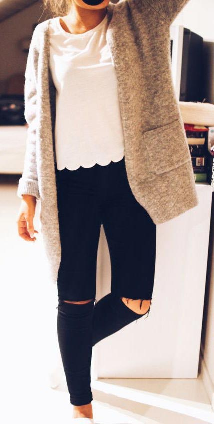 fall outfits-gray coat