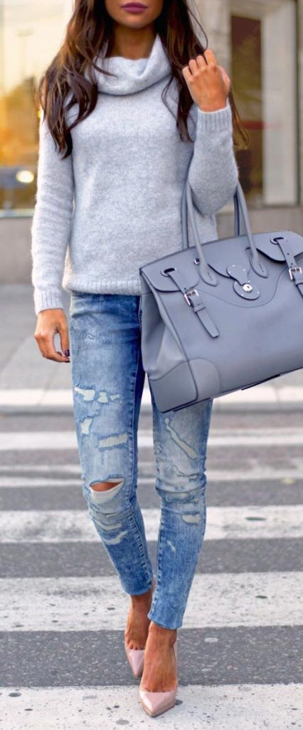 fall outfits-gray turtle neck knit