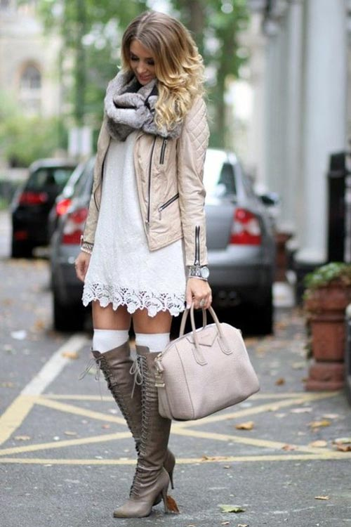 jacket paired with dress