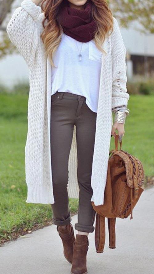 oversized cardigan burgundy scarf