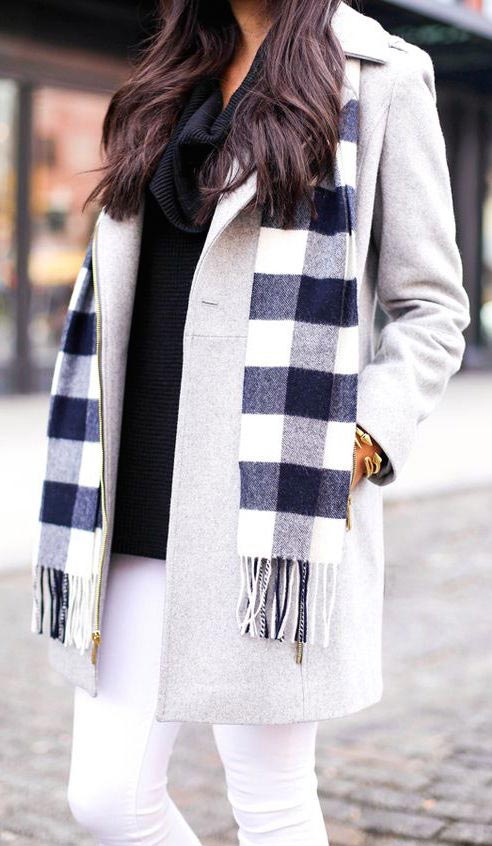 plaid scarf gray coat