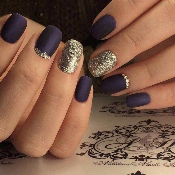 Blackish blue with glitter and stones