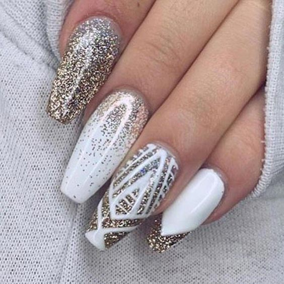 Creative nail art with white and gold