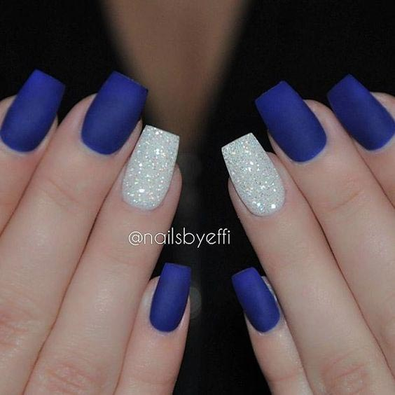 Matte blue and white glitters