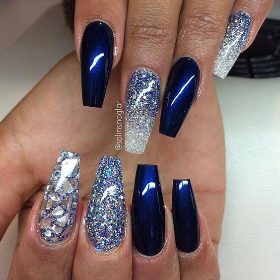 35 easy glitter nail art ideas you will love to try midnight blue and glitter nail art prinsesfo Images