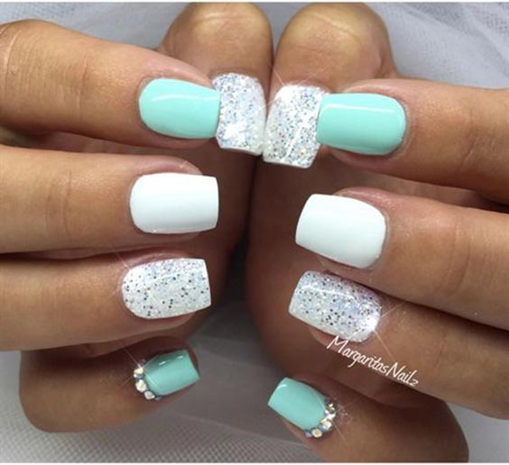 Mint green and white glitter