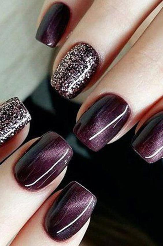 Purple red and glitter nail art