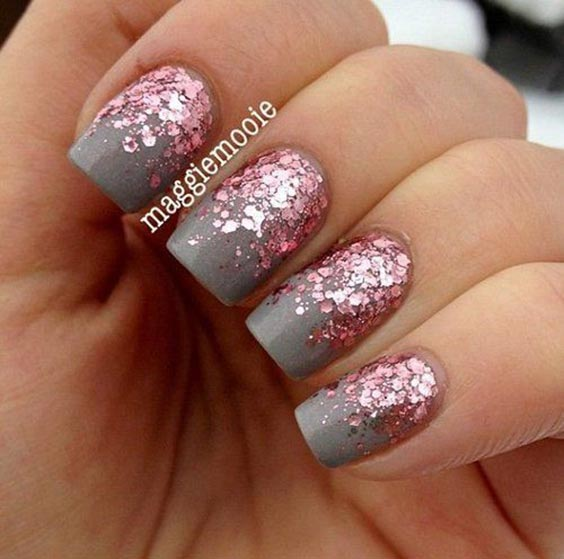 Rose gold sequin glitter on grey glitter nail art