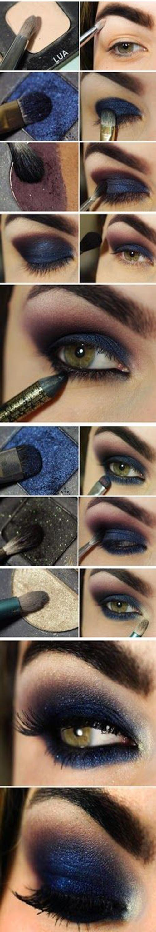 Sexy navy blue smoky eye makeup to dazzle the eve