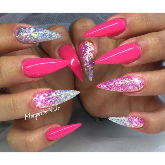 Shine in pink glitter nail art