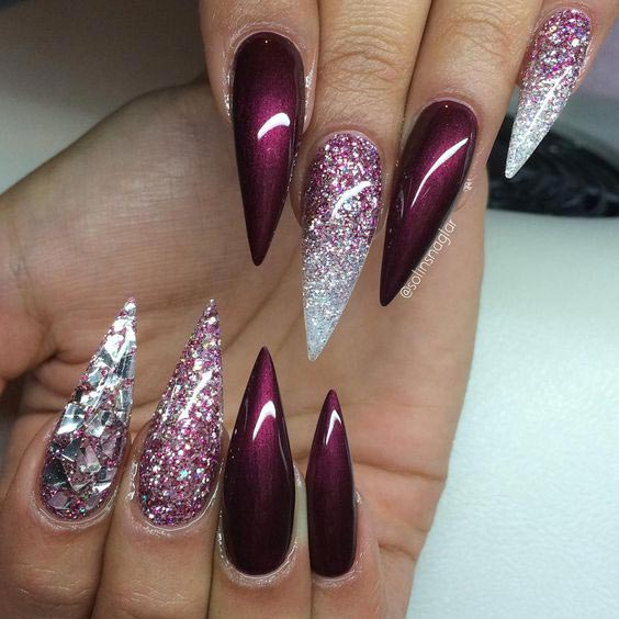 Sparkling burgundy stiletto nails