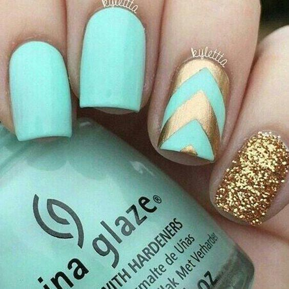 Turquoise with glittery gold