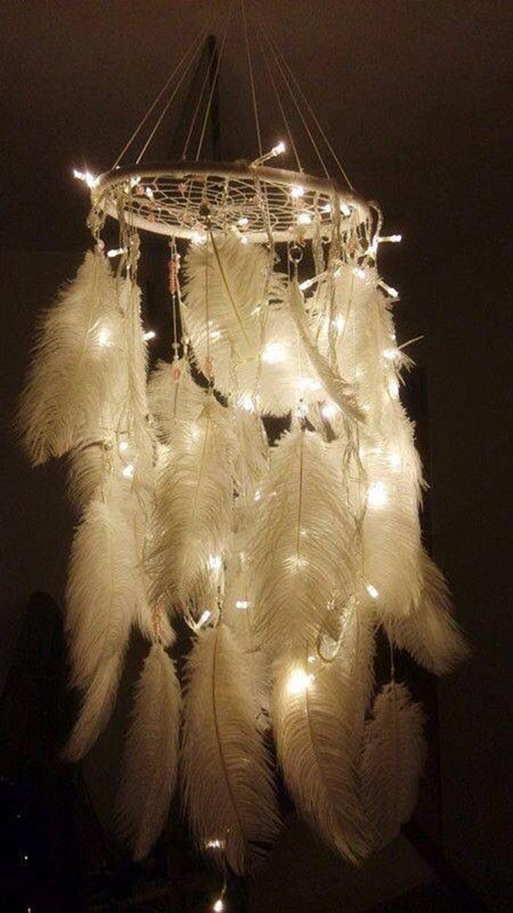 Dream catcher inspired chandelier with lights