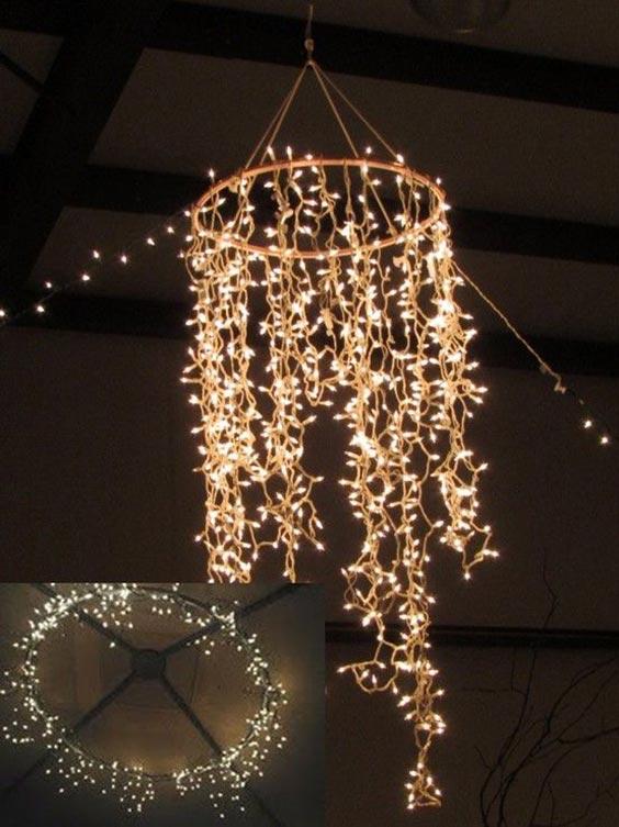Hula hoop chandelier