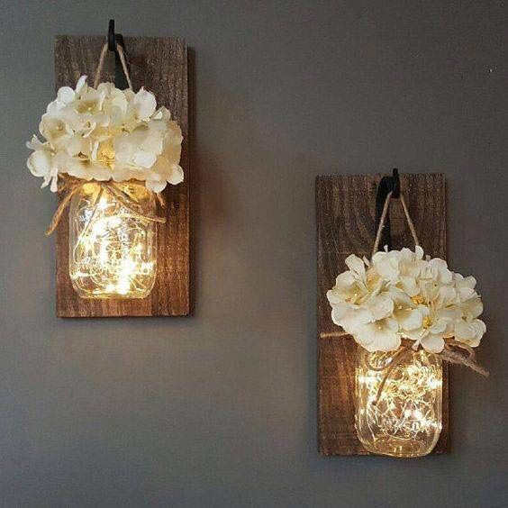 Mason jar wall decor with lights