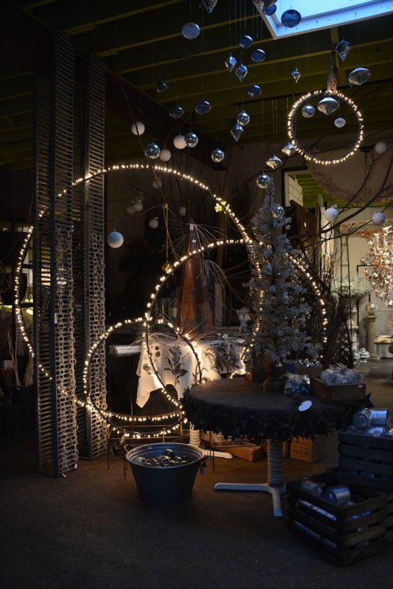 String light twirled around hulahoops