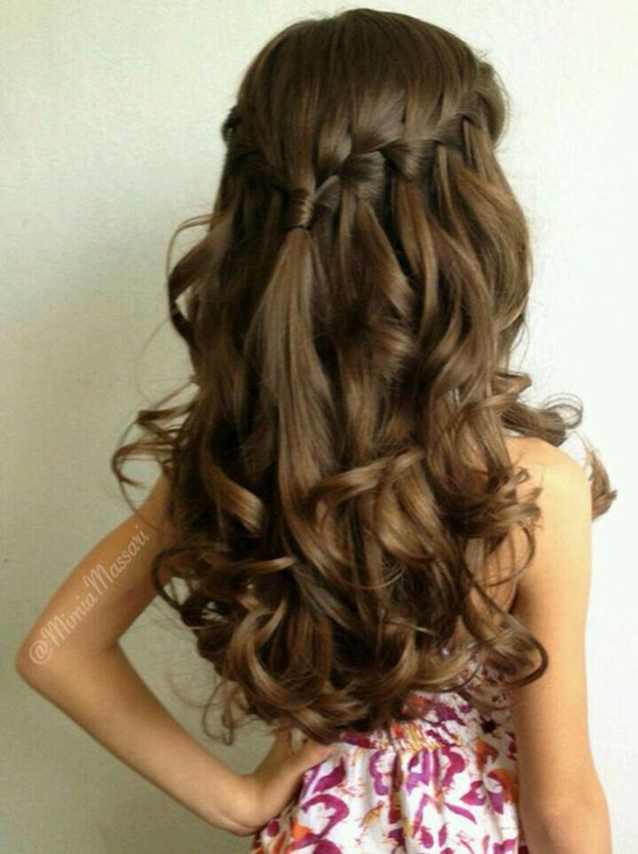 Waterfall half up half down hairstyle