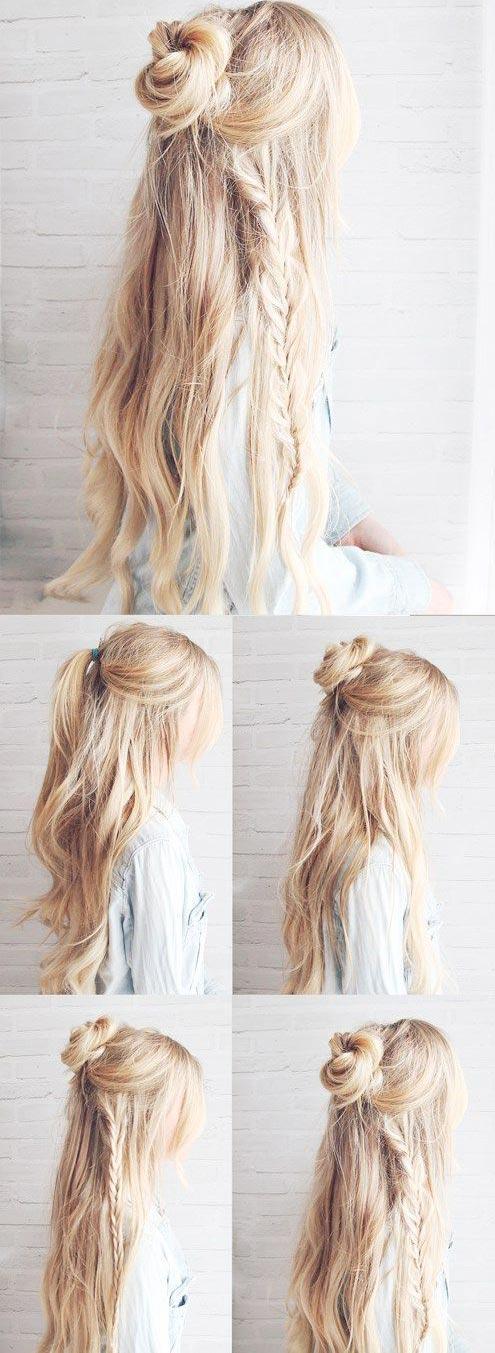 Boho bun with a braid
