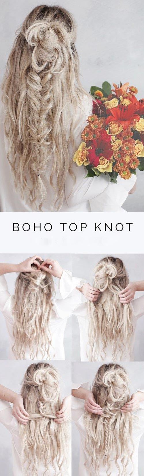 Boho top knot with fish braid