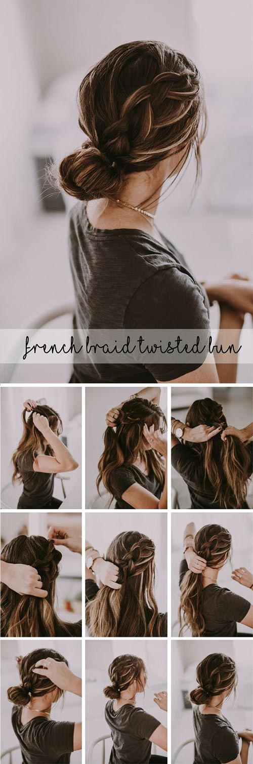 Messy bun with side braid