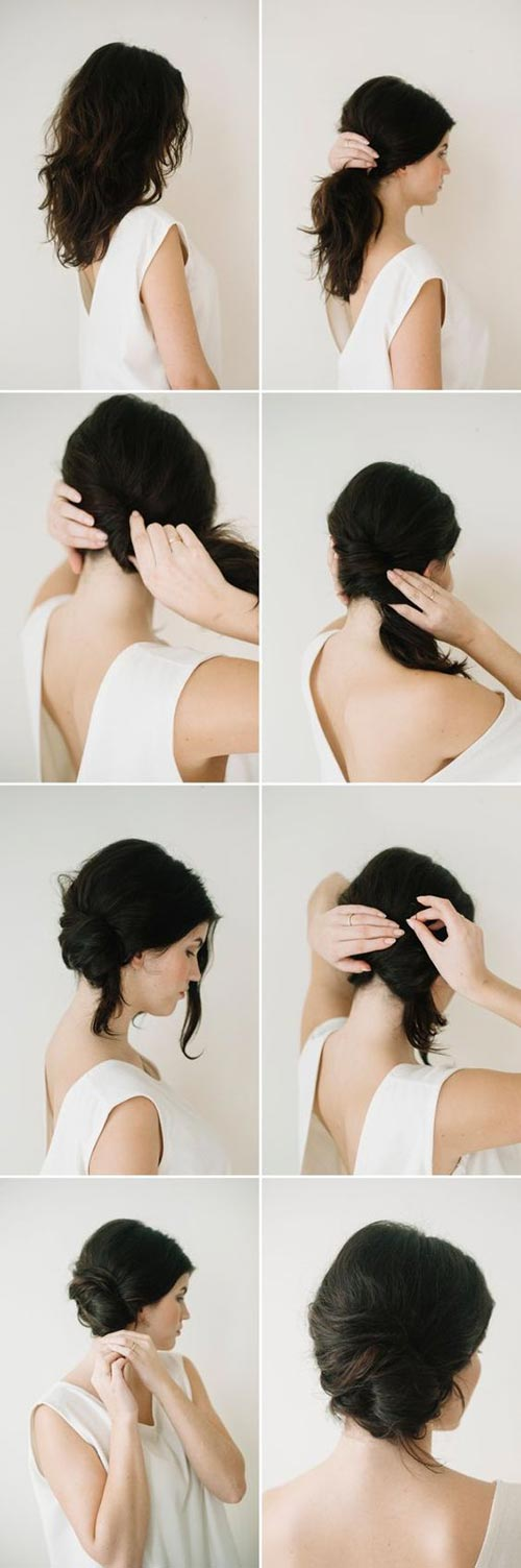 Messy side french twist