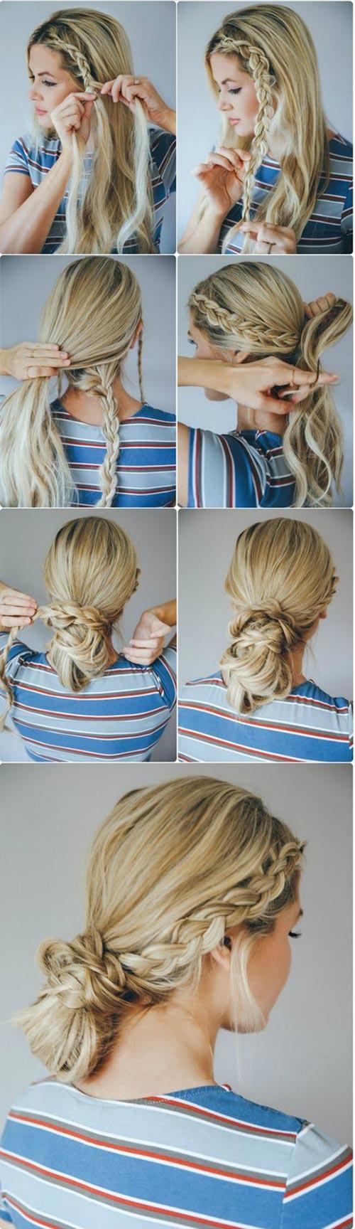 Messy twisted braid bun