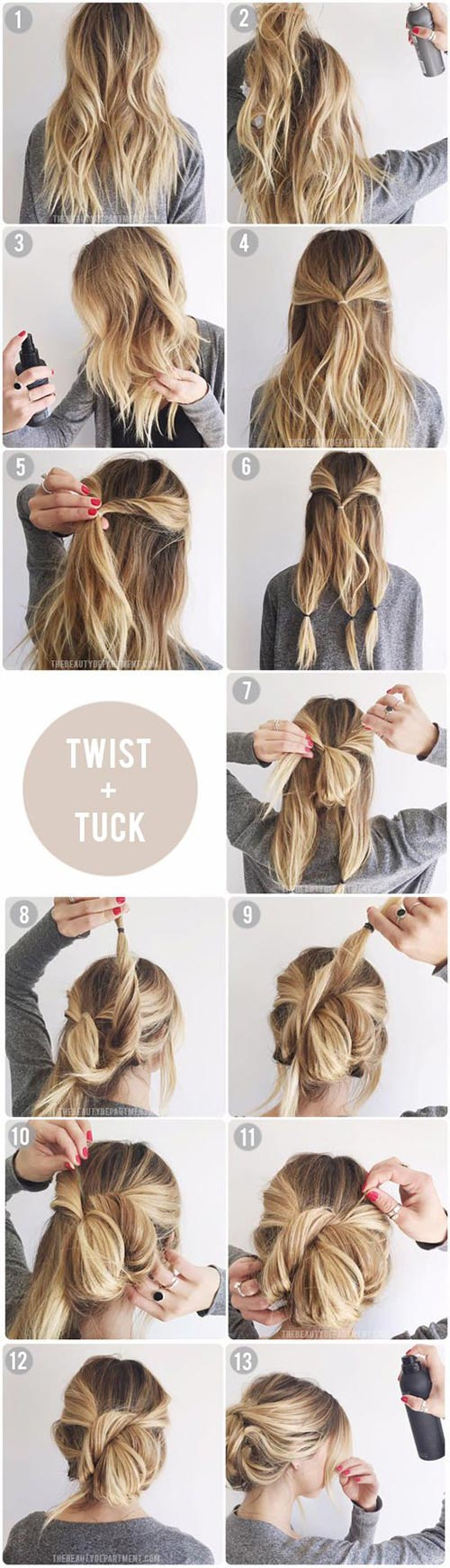 Messy hairstyles with twisted bun