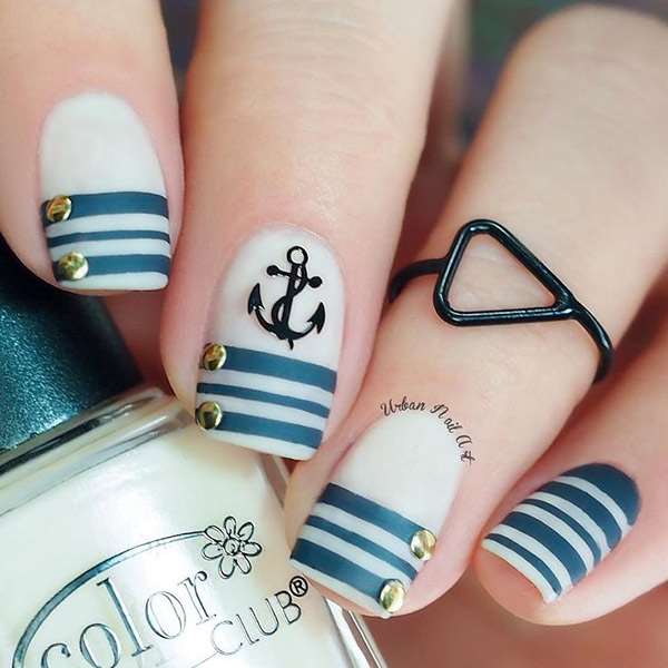 Navy Blue Strips on white nails with anchor