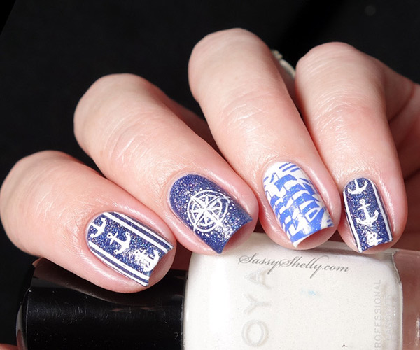 Nautical nail art with all navy on your nails
