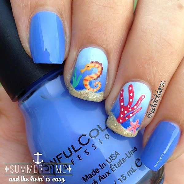 Underwater design nautical nail art