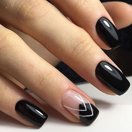 Negative space and black nail design