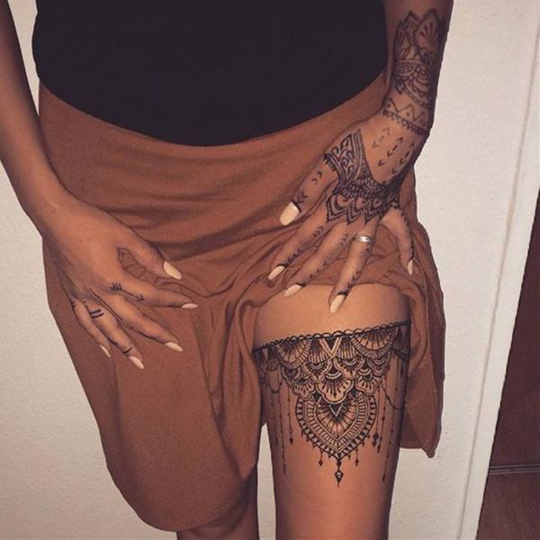 Oriental Art Thigh Henna tattoo