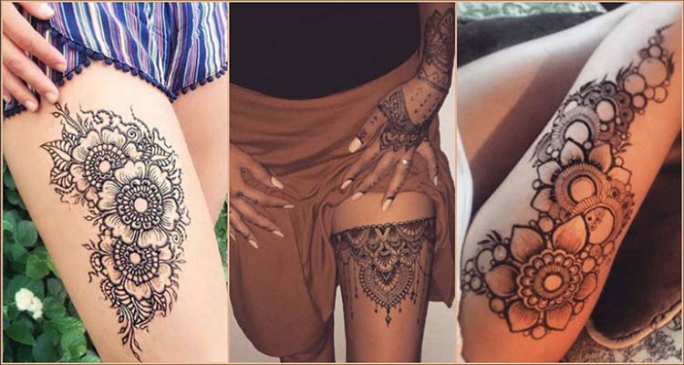 Mehndi Tattoo Hip : Amazing thigh henna mehndi tattoo art designs