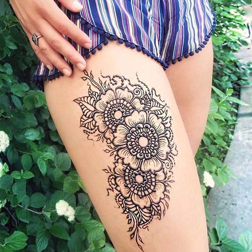 Cluster of Floral Henna Designs for Thigh