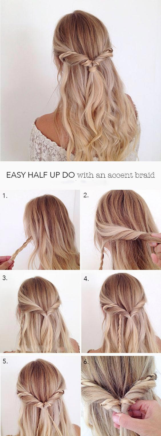 Pretty Half Updo With An Accent Braid Hairstyle