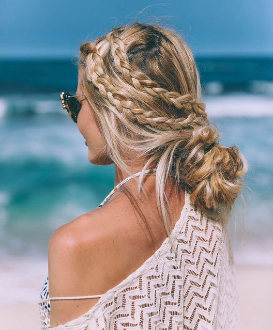 Side braids with a loose bun