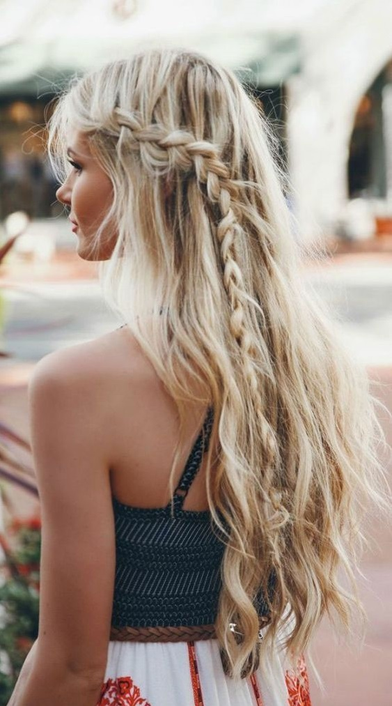 Waterfall braid with open hair