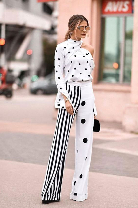 black and white with patterns