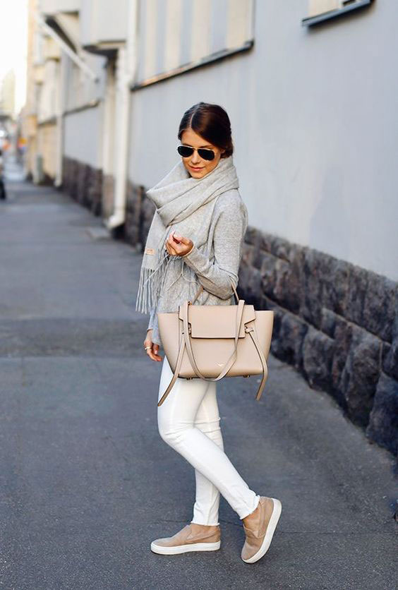 white jeans winter look