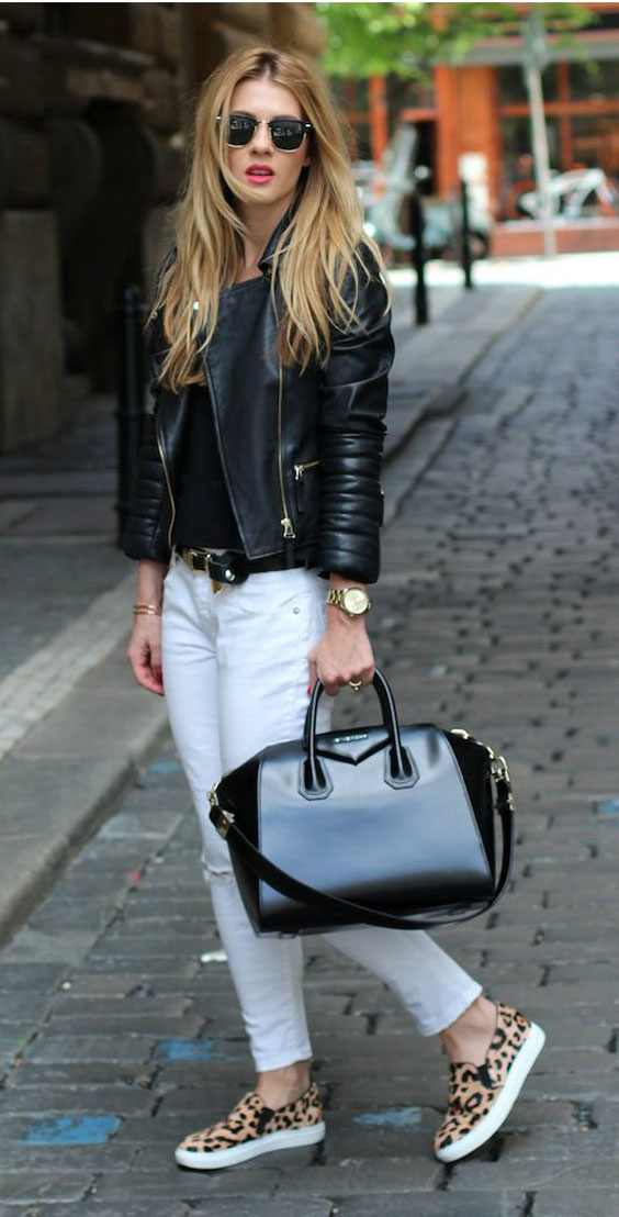 pair it up with leather jacket