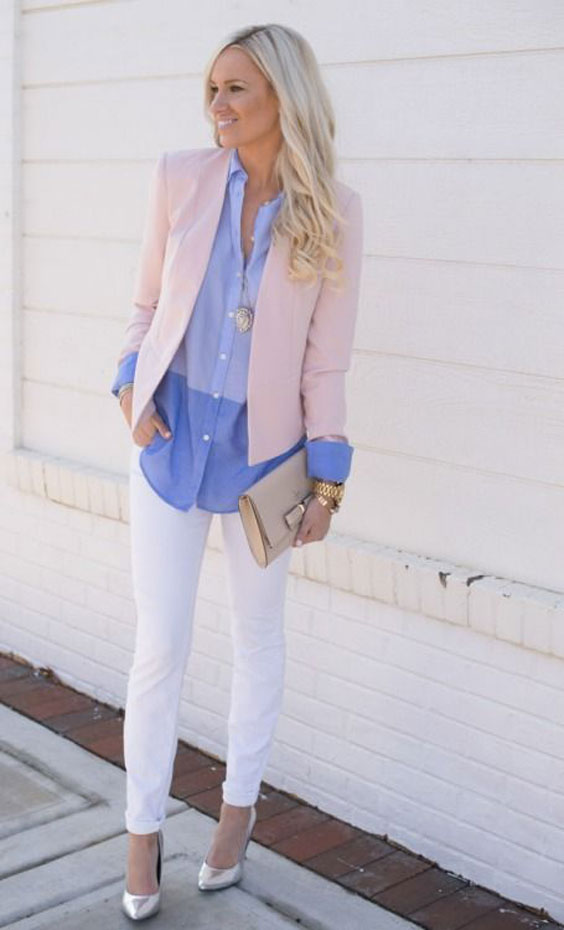 white jeans for office look