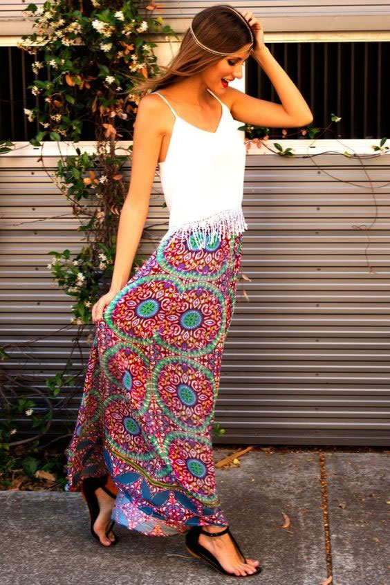 boho chic long skirt