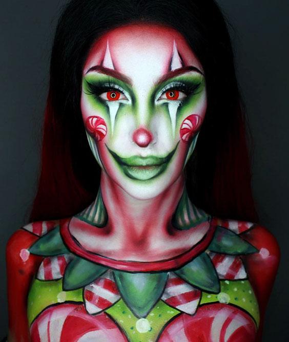 Christmas Clown halloween makeup ideas