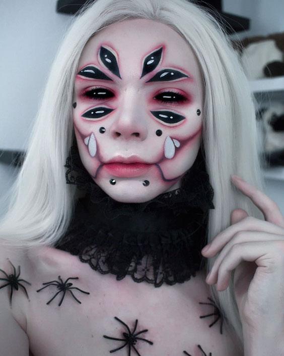 The Scary Multi-eyed halloween makeup ideas