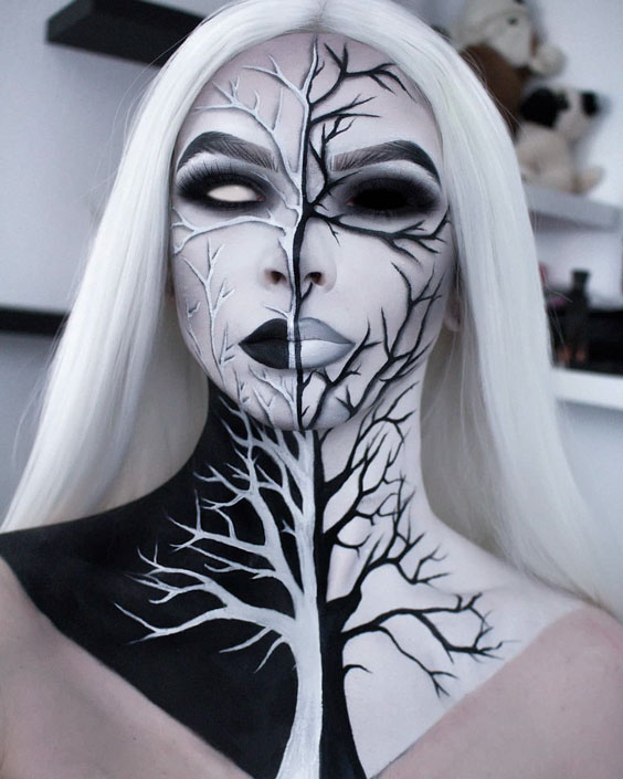 Withered Mocohrome Tree halloween makeup ideas