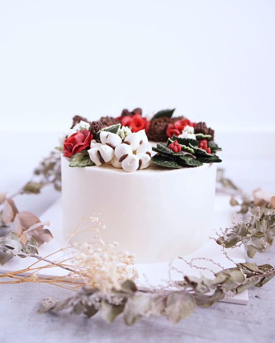 Incredible flower cake for christmas 1