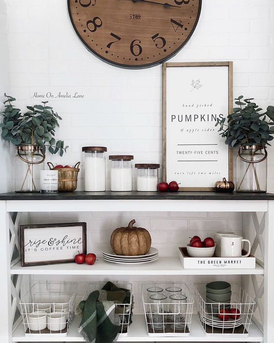 thanksgiving decoration ideas kitchen shelves decoration