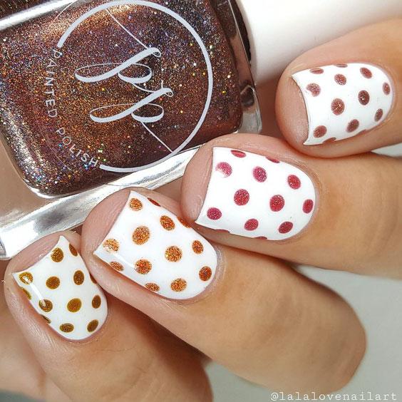 thanksgiving nailart with polka dots