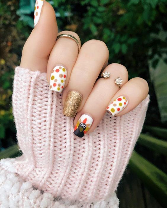 turkey nails with polka dots