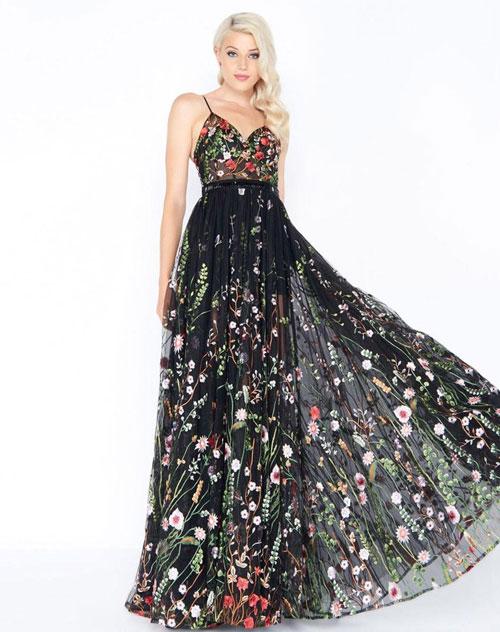A line-dress evening dress